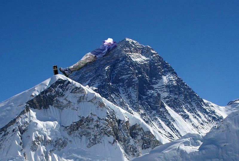 Background image: Mount Everest from Kalapatthar. Photo: Pavel Novak. Source: Wikipedia. Pasted image: Jamie Bassnett.
